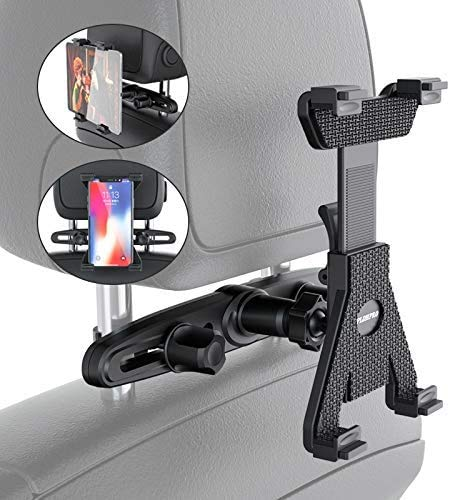 Universal Car Back Seat Headrest Tablet Headrest Stand Mount Holder For All 7to11 inch for All 4.4~11' Tablets, iPad Pro 9.7, 10.5, iPad Air mini 2 3 4, iPhone, Switch, Tab - Black