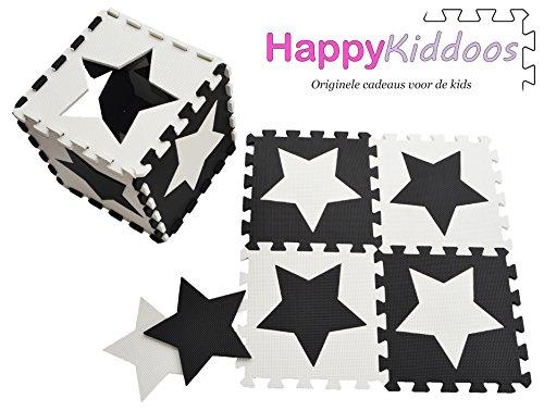 Happykiddoos Puzzlespielmatte 10 Foam Matte. Spielmatte Schaumstoff Verriegelung Puzzle Kinderteppich. Jede Matte hat eine Größe von 30x30cm und ist 1 cm dick (Stern, Schwarz/weiß)