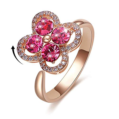 Flower Ring for Women Girls Iced Out CZ Jewelry Rose Gold Rings Crystal Infinity Ring Solitaire Promise Eternity Ring (Teens Ring Herb)
