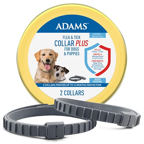 Adams Flea & Tick Collar Plus for Dogs & Puppies, 2 Pack One Size