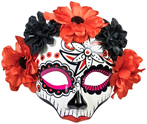 Forum Novelties Day of The Dead Red & Black Rose Female Costume Mask One Size