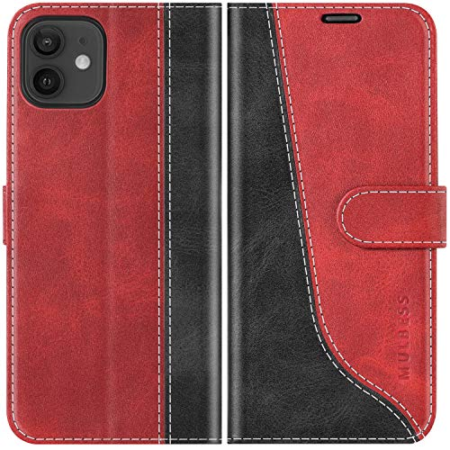 Mulbess Funda para iPhone 12 Mini, Funda Móvil iPhone 12 Mini, Funda Libro iPhone 12 Mini con Tapa Magnética Carcasa para iPhone 12 Mini 5G (5.4) Case, Vino Rojo