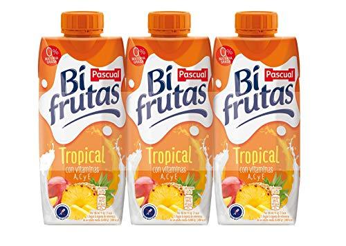 Bifrutas Tropical Bebida Refrescante con Leche y Zumo de Frutas, Pack de 3 x 330ml