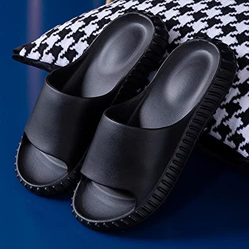 XZDNYDHGX Mujeres Zapatos De Piscina,Sandalias Antideslizantes para el hogar de Suela Gruesa de Verano para Hombre, baño con Zapatillas deslizantes de Fondo Suave Negro EU 39-40