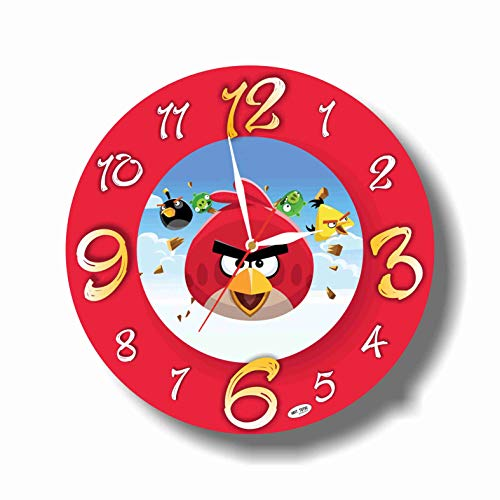 Art time production Angry Birds 11.8'' Handmade Unique Wall Clock - Get Unique décor for Home or Office – Best Gift Ideas for Kids, Friends, Parents