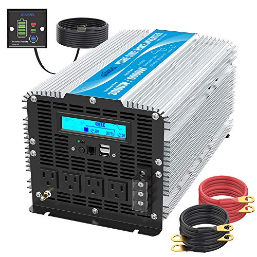 Pure Sine Wave Power Inverter 3000Watt DC 12 Volt to 120Volt with LCD Display and Remote Control 2X 2.4A USB and 4X AC Outlets with Brand GIANDEL