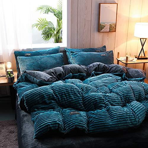 AINH Juego de cama lavable y cálido, funda de edredón de franela gruesa suave, funda de edredón reversible de terciopelo de doble cara, funda de edredón de 200 x 230 cm