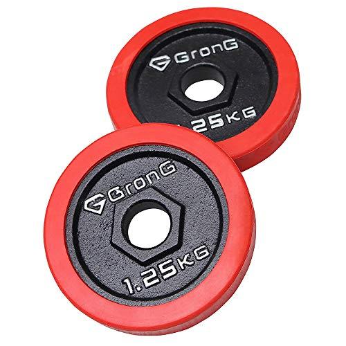 GronG(グロング) アイアン ダンベル バーベル プレート シャフト径28mm 鉄製 1.25kg×2個セット(2.5kg) ラバーリング セット