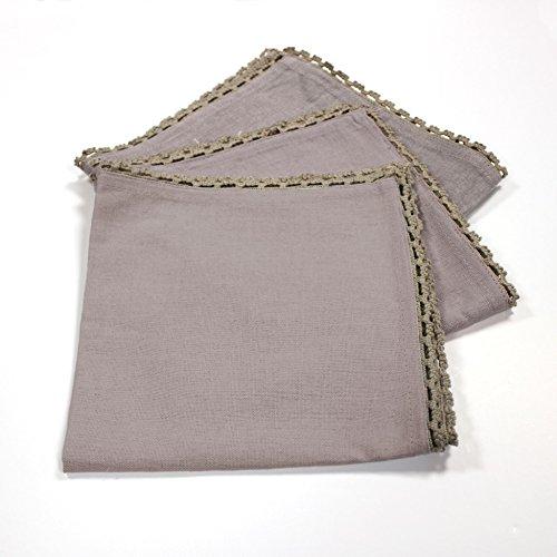 charme & douceur 3 serviettes de table 40x40 cm femina taupe