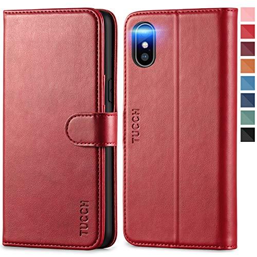 TUCCH iPhone XS Hülle, Handyhülle [Schützt vor Stößen] [Kabelloses Laden] [Schlaf/Wachfunktion], TPU Klappbare Schutzhülle Kartenfächer Magnet Stand, Lederhülle Hülle Kompatibel für iPhone XS (5,8) Rot