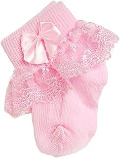 1 par de calcetines para bebés, calcetines con tobillo con volantes de princesa - calcetines con lazo de encaje Calcetines de algodón lindos para niñas recién nacidas (de 1 a 2 años)