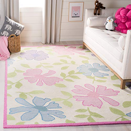 Safavieh Kids Collection SFK376A Handmade Floral Wool Area Rug, 5' x 8', Ivory / Pink