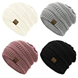 Durio Beanie for Women Knit Beanie Cozy Winter Hats Thick Womens Hat Warm Beanie Hat Gifts for Women Wife Mother A Black & Ivory & Light Grey & Pink One Size