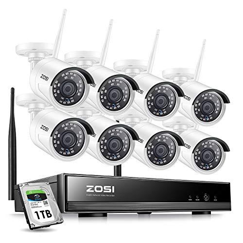 ZOSI 8CH HD 1080P Funk Überwachungskamera System mit 1TB Festplatte Wireless H.265+ NVR mit 8 Außen 1080P WLAN Kamera Video Überwachungsset für Indoor/Outdoor, 20M IR Nachtsicht