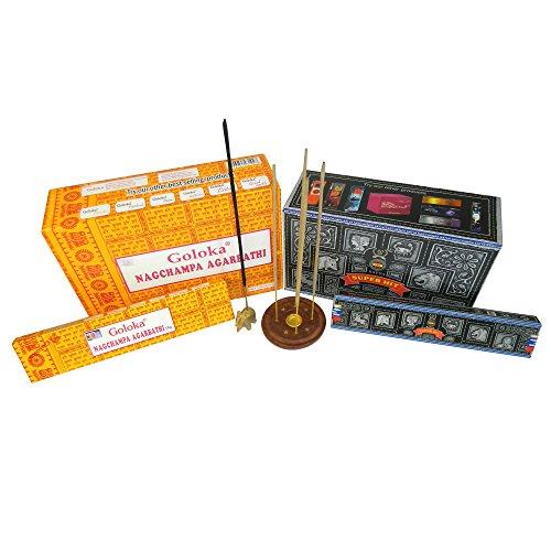 Räucherstäbchen Set 192g Goloka Nag Champa und 180g Satya Super Hit mit zwei Räucherstäbchenhaltern