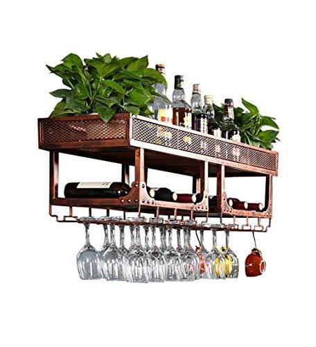 Daily Equipment Wine Racks Soporte de pared Metal Vintage Double Layer Free |Soporte para botella de vino | Soporte para copa de vino colgante |Soporte de vino rústico Enfriador de vino montado e