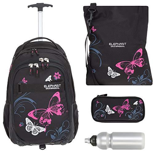 Schultrolley Trolley Mädchen 4 T Set Hero Butterfly Rucksack Schultasche Sportbeutel Mäppchen Box Trinkflasche 12680 tbbf (Butterfly Black Pink)