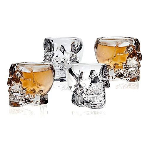 Ochine 3D Skull Shot Glasses Crystal Skeleton Cup Halloween Drinkware, 4 Glasses, 2.5 oz