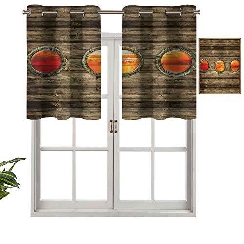 Hiiiman - Tenda oscurante per finestra, stile rustico, in legno, set di 2, 106,7 x 61 cm, per interni, soggiorno, sala da pranzo, camera da letto