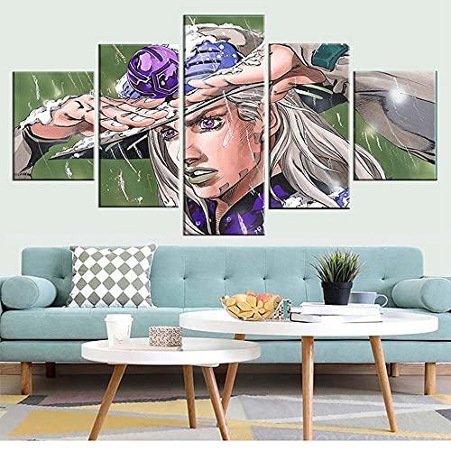 Cuadro de lienzo para pared con 5 piezas JoJo S Bizarre Paitings Anime Poster para sala de estar, decoración del hogar impresiones (tamaño 1)