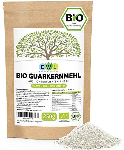 Bio Guarkernmehl Guar Gum 250g Hochwertiges Guarkern Mehl aus kontrolliertem Anbau Guarkernmehl low carb E412 Glutenfrei Bindemittel Verdickungsmittel