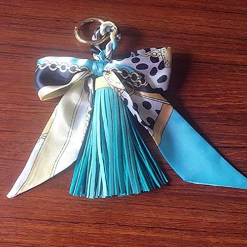 HKFG Leder Quaste Schlüsselbund Schlüsselring Geschenk für Frauen Mädchen Tasche Anhänger Fliege Charms Schlüsselanhänger, blau