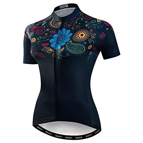 Damen Radtrikot Fahrradshirts Kurzarm Damen Fahrradbekleidung MTB Fahrradjacke - Schwarz - Brust 99/107 cm = Etikett XL