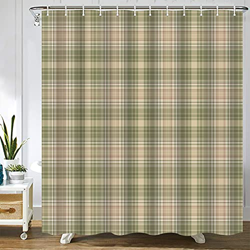 Abaysto Gingham Plaid Beige Grey Sage Abstract Autumn Celtic Checked Checkered Bathroom Decor Shower Curtain Sets with Hooks Polyester Fabric Great Gift