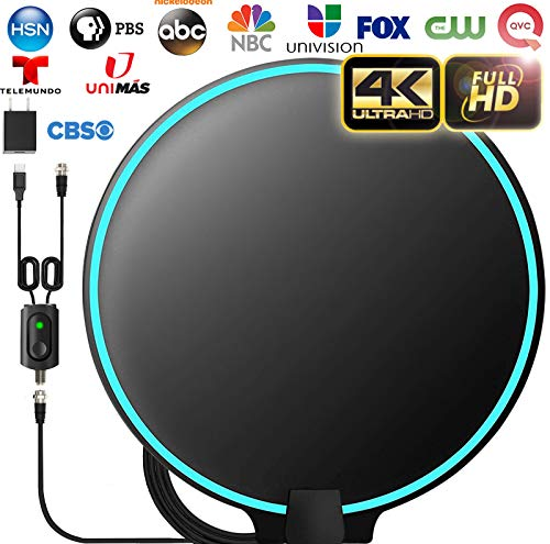 Gesobyte Amplified HD Digital Round TV Antenna Long 200+ Miles Range - Support 4K 1080p Fire tv Stick and All Older TV's - Indoor Smart Switch Amplifier Signal Booster - 18ft HDTV Cable/AC Adapter