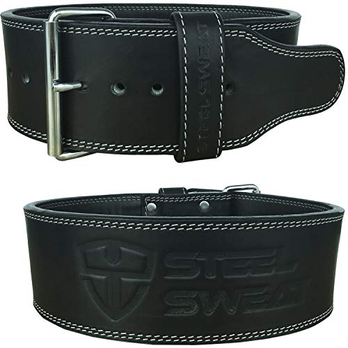 Steel sweat powerlifting belt for weight lifting image