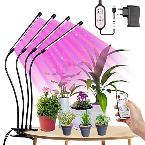 LED Pflanzenlampe Vollspektrum, Tasmor Dimmbar Grow Light 80LEDs, Wachstumslampe für Zimmerpflanzen mit Timing LED Grow Lampe Pflanzenleuchte, Rot, Blau, Warmweiß IP44 LED Pflanzenlicht für Garten