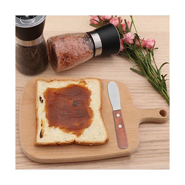 Esparcidor de mantequilla ancha de borde recto de 8 paquetes de acero inoxidable con mango de madera, esparcidor de…