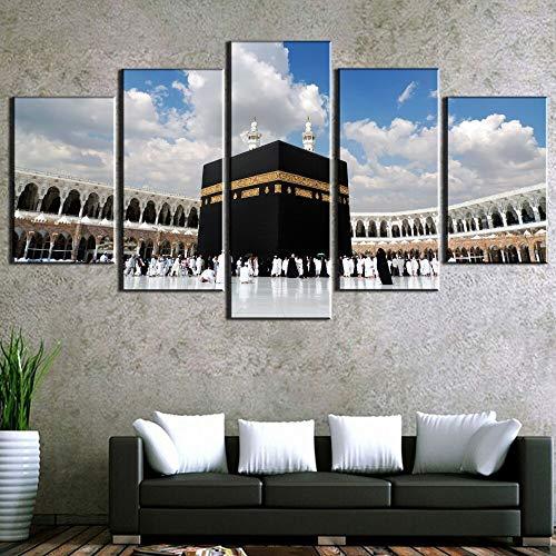 PEKSLA 5 Piezas Modernas estiradas Grandes mecas islámicas de Kaaba Impresiones en Lienzo Obra de Arte Cuadros Pinturas en Lienzo Arte de Pared
