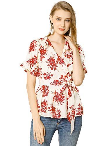 Allegra K Women's Wrap Peplum Top Blouse Tie Waist Short Sleeve Ruffle Floral V Neck Belted Shirts Medium White