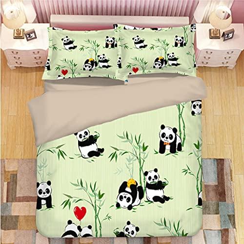 ysldtty 3D Panda Print Bedding Set Duvet Covers Pillowcases Comforter Bedclothes Bed Linen U-2151W 200CM x 200CM With 2 Pice Pillowcase 50CM x 75CM