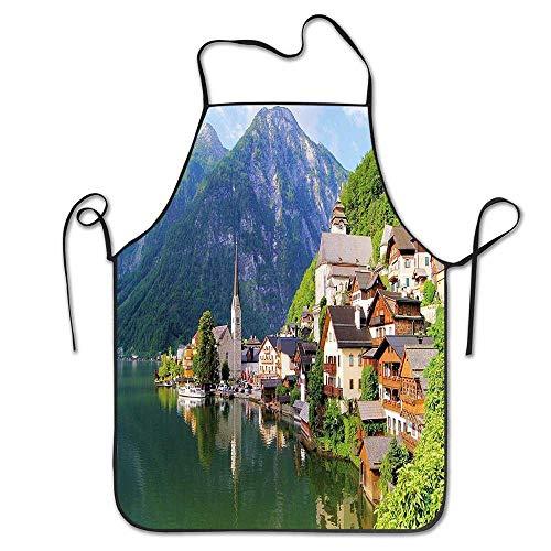 Tablier Tablier Unisexe pour la Cuisson, la Cuisson, Le Jardinage, Le Village Alpin idyllique, la Petite Ville, par Le majestueux lac de Montagne, Le Paysage Pastoral européen