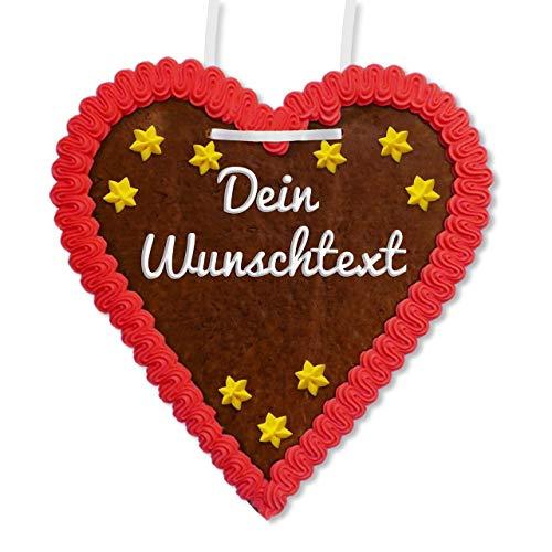 Lebkuchenherz Individuell 21 x 22cm mit Wunschtext online Gestalten für Weihnachten | Farbe: rot | weihnachtliche Geschenkidee oder Dekoration | LEBKUCHEN-WELT