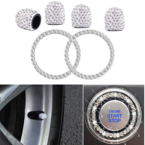 4PCS Crystal Rhinestone Universal Stem Covers with 2Pcs Car Shine Crystal Rhinestone Bling Sticker Emblem Ring for Car Engine Ignition Button Key & Knobs, Unique Gift (Silver)