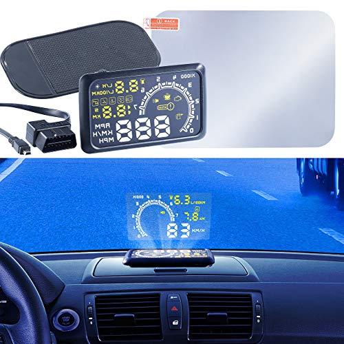 Lescars OBD Display: Head-up-Display HUD-55C für OBD2-Anschluss (Tachoanzeige auf Windschutzscheibe)