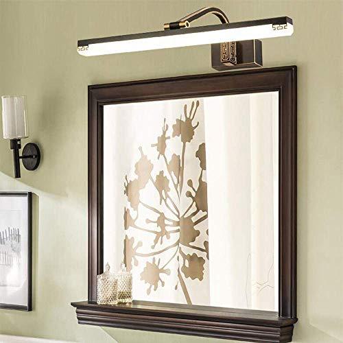 Allamp Inicio Espejo de baño Espejo faros de LED de la lámpara 111-240V baño Luces de cobre y luces de pared de acrílico de Maquillaje iluminación cálida Bombilla incluido, el espejo del faro, Brass-5
