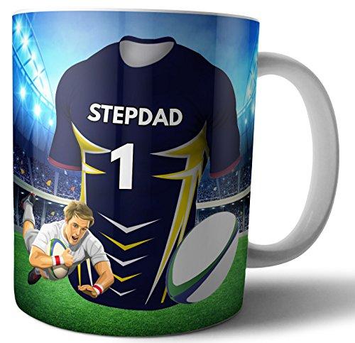 Teetasse/Kaffeetasse, Rugby-Geschenk für einen Stepdad – The Highlanders Farben