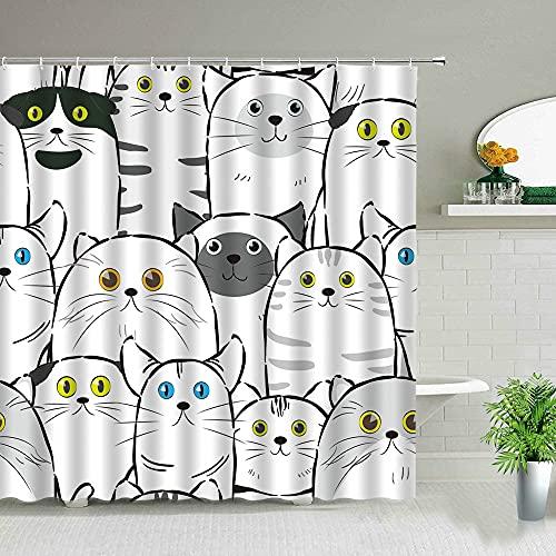 Cortina de Ducha con Estampado de Gato Dibujos Animados Oso Animal Lindo Cortina de poliéster Impermeable baño decoración de bañera con Gancho S.4 150x180cm