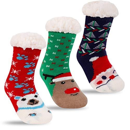 Winter Fuzzy Slipper Socks Kids Girls Boy Fluffy Sherpa Fleece Lined...