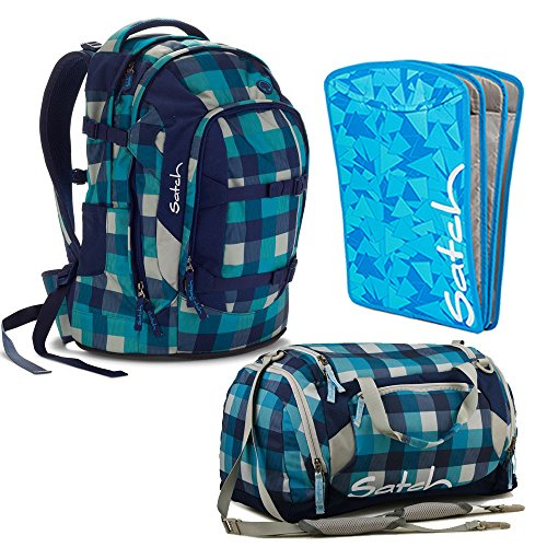 satch by Ergobag Blister 3-teiliges Set Rucksack, Sporttasche & Heftebox Blau