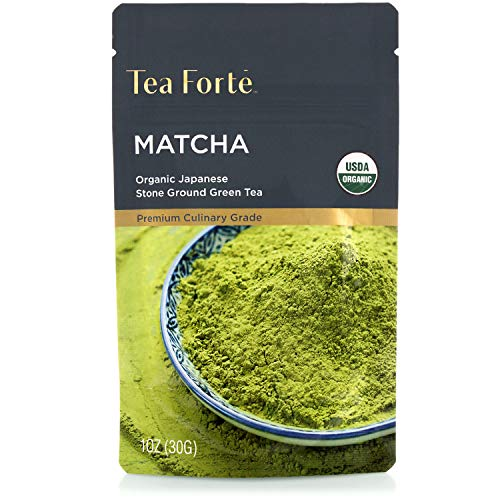 Tea Forte Organic Matcha Green Tea Powder, Culinary Grade Japanese Matcha for Cooking, Baking or Latte, 1 Ounce Resealable Pouch