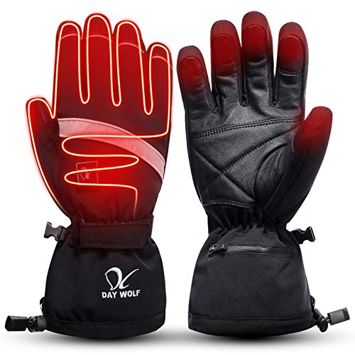 day wolf Heated Gloves for Men Women Touch Screen Motorcycle Skiing Electric Hand Warmer 7.4V 2200MAH Rechargeable Wind & Water Resistant Thermal for Winter Snowboarding Hiking