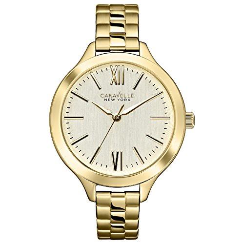 Caravelle New York 44L127 - Reloj analógico de Cuarzo para Mujeres, Correa de Acero Inoxidable, Color Dorado