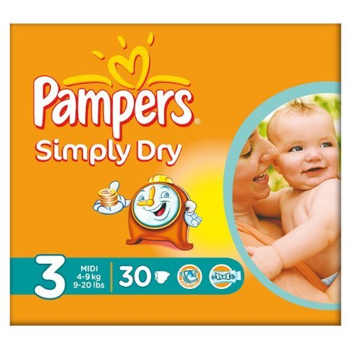 Pampers - Couches Bébé - Simply Dry Taille 3-4-9kg Midi - x30