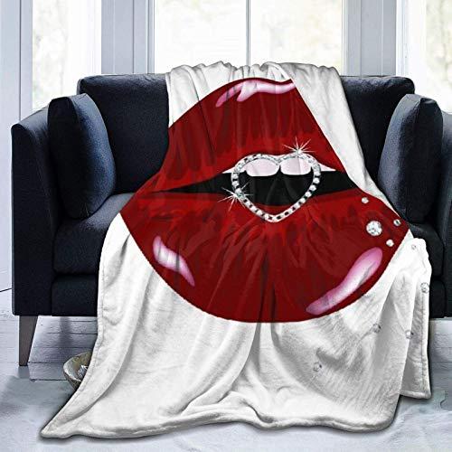 Manta personalizada con forma de corazón de diamante de lujo en hermosos labios, suave y cómoda manta de felpa para sofá, dormitorio, viajes, manta mullida de 101 x 122 cm