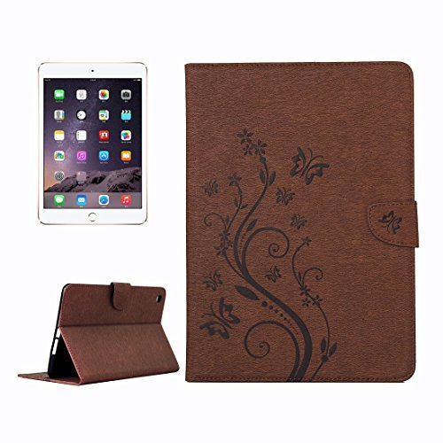 FATEGGS Mobile Phone Accessories For iPad mini 3 Pressed Flowers Butterfly Pattern Horizontal Flip PU Leather Case with Magnetic Buckle & Holder & Card Slots & Wallet Case Covers (Color : Brown)